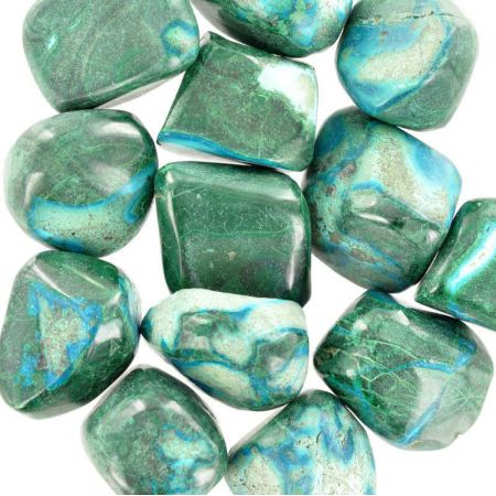 Poids du lot de malachite-chrysocolle : 250 gr. 13 pierres env
