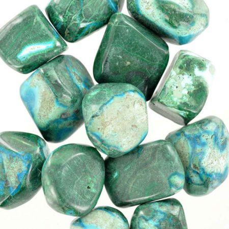 Poids du lot de malachite-chrysocolle : 250 gr. 13 pierres env