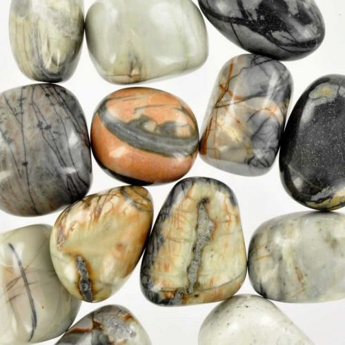 Poids du lot de jaspe picasso : 250 gr. 14 pierres env