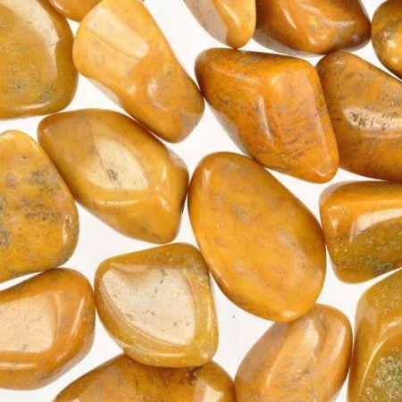 Poids du lot de jaspe jaune: 250 gr. 21 pierres