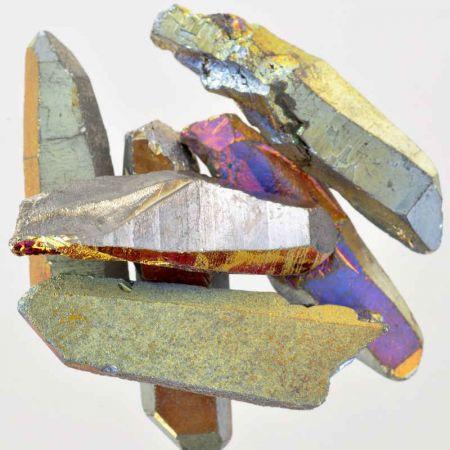 Poids du lot de quartz titane aura : 100 gr.  6 pierres env.
