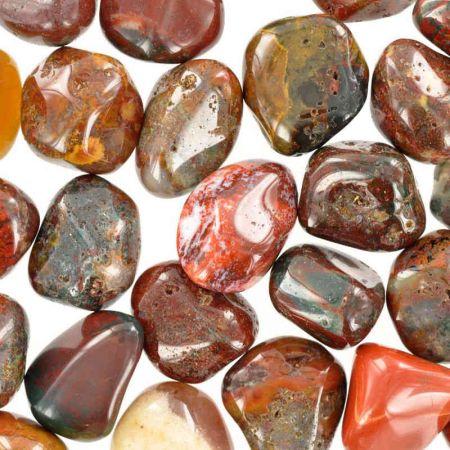 Poids du lot d'agate jaspe rouge : 250 gr. 32 pierres env.