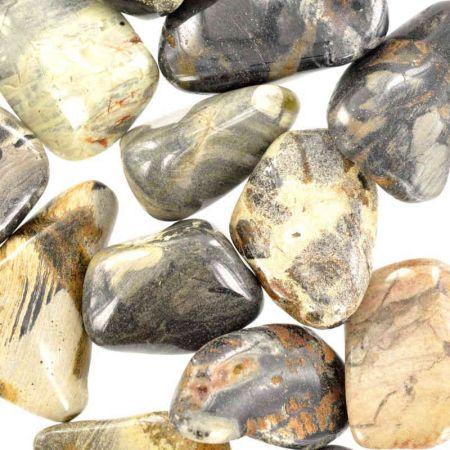 Poids du lot de jaspe argenté: 250 gr. 16 pierres env
