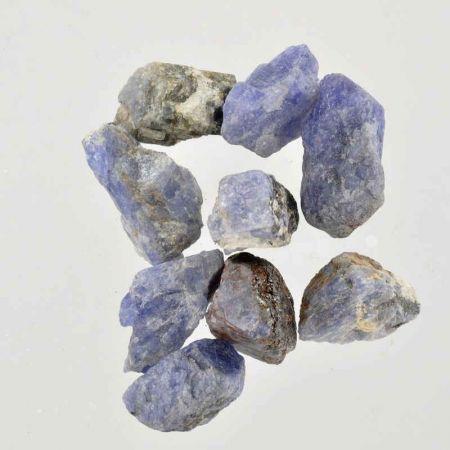 Poids du lot de tanzanite brute : 50 gr. 9 pierres env.
