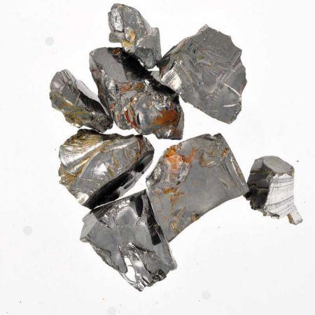 Poids du lot de shungite argentée : 25 gr. 8 pierres env.