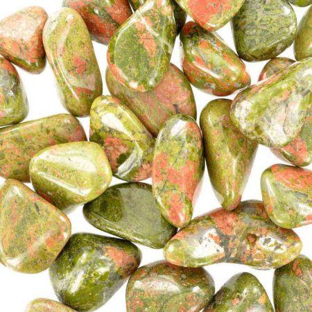 Poids du lot d'unakite: 100 gr. 40 pierres env.