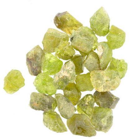 Poids du lot de péridot brute: 50 gr. 25 pierres env.
